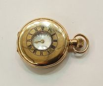 Denison gold-plated half hunter pocket watch, button winding, inscribed to face 'Royal Mail Sims',
