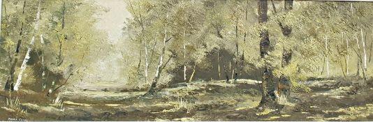 Pamela Cook Oil on board Wooded landscape, signed lower left, 29cm x 89cm