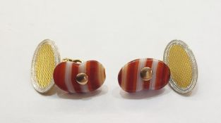 Pair 18ct gold, platinum and banded agate cufflinks, each set single oval banded agate stone, partly