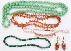 Branch coral necklace, pair branch coral drop earrings andamalachite crystal and jade-coloured