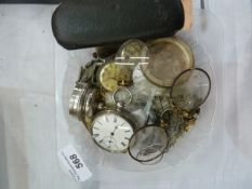 Silver pocket watch, quantity of pocket watch parts, spectacles and other items ( 1 box)Condition