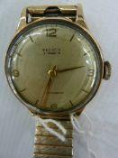 Mid twentieth century gent's Peerex 9 ct gold wristwatch with second hand on gilt strap