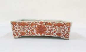 Chinese porcelain shallow dish, rectangular, painted in iron-red with chrysanthemums, scrolling