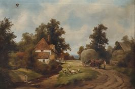 19th century school Pair oils on canvas Farmyard scenes, indistinctly signed and dated lower