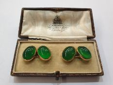 Pair 9ct gold and green cabochon stone cufflinks, each set pair oval green hard stonesCondition