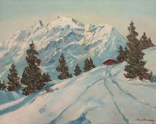 M Strasky (20th century) Oil on canvas Alpine scene, signed lower right, 50cm x 65cm (framed)
