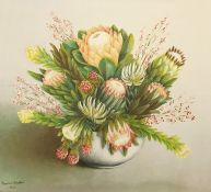 Thomas L Bainton Oil on canvas Study of Proteas and other South African flowers in a vase, signed