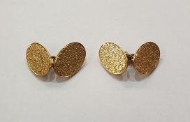 Pair of 15ct gold double oval and chain cufflinks, whirl engraved, approx. 11g gross