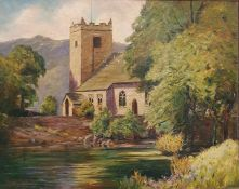 T Marshall Furness (19th/20th century, British) Oil on board Study of a church with mountain, signed