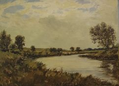 """Barrington Browne Oil on board """"The Itchen, Near Winchester (1949) (Dry Fly Fishing for Trout)"""","""