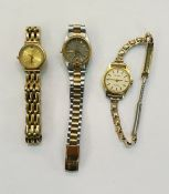 Lady's Seiko wristwatchwith calendar aperture, a lady's Raymond Weil gilt watchwith date