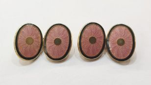 Pair silver gilt and pink guilloche enamel double oval and chain cufflinksCondition Reportno