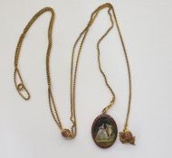 Antique gold-plated, ruby and miniature on ivory pendant, oval, painted with mid eighteenth