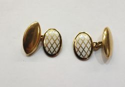 Pair 18ct gold and white enamel oval and marquise shaped cufflinks, each oval having latticework