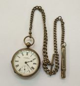 Late Victorian Waltham open-faced silver pocket watchwith subsidiary seconds dial, key winding,