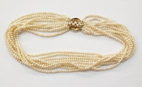 Freshwater pearl nine strand 18ct gold pearl and diamond set choker necklace, the circular 18ct gold