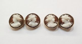 Pair of gold and carved shell cameo cufflinks, each circular and displaying female profile bust