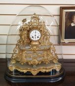 French gilt metal and alabaster mantel clock, the drum-shaped movement flanked by figure of girl