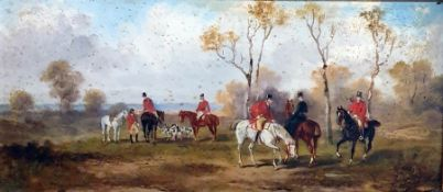 Unattributed (19th century) Pair oils on board Hunting scenes, 14cm x 30cm (both framed with