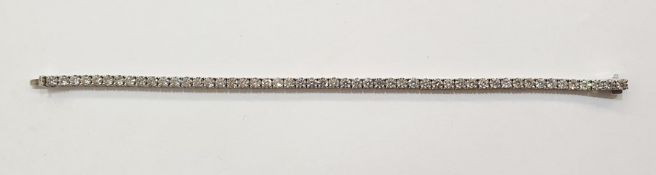 18ct white gold and diamond tennis bracelet, the round brilliant-cut diamonds 6.34ct total approx