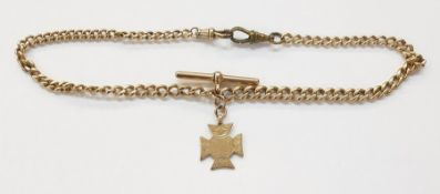 Gold-plated double graduated curb-link albertchainwith 9ct gold fob