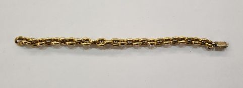 Gold coloured metal link braceletwith shaped oval links, 17g approx. (broken)