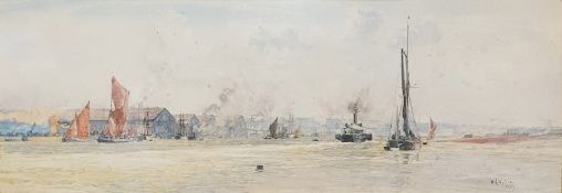 W L Wyllie (1851-1931) Watercolour drawing Sailing boats in an estuary, signed lower right and