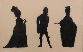 Silhouette picture with three figures, oak frame, glazed, 24cm x 37cm