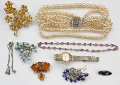 Quantity of costume jewelleryincluding faux-pearls, beads, brooches, watch, earrings and assorted
