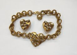1980's Butler & Wilson gilt metal faux pearl and faux diamond necklace and matching pair clip