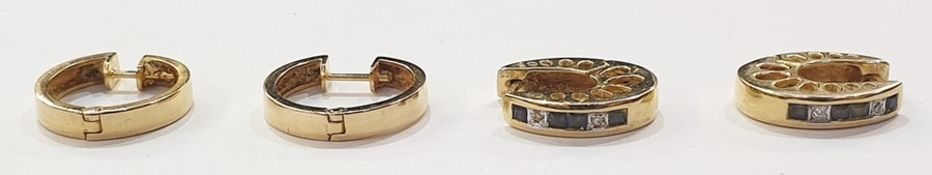 Pair 14ct gold sapphire and diamond hoop earrings and another pair 14ct gold circular hoop earrings