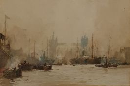 Charles Edward Dixon (1872-1934) Watercolour drawing Pool of London with shipping and Tower