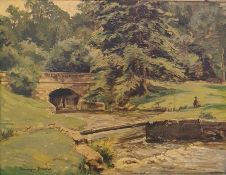 """Barrington Browne Oil on board """"The Churn, Rendcomb, Gloucestershire"""", fisherman on a bank by a"""