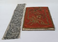 Length of 19th century gilt metal thread embroidery with sequin detail on a rust-coloured satin