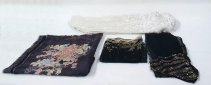Black lace shawl with cream lace detail, black net scarf with sequin detail, length of black silk