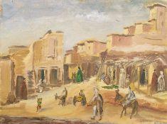 W.G. Scott-Brown 'Bill' (1897-1987) Acrylic on board Village in Morocco, entitled verso 30cm x 40.