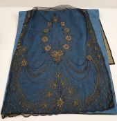 Black lace mantilla veil, a large black lace shawl, a Victorian black lace collar and part of a