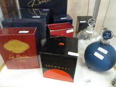 Assorted perfume bottles to include Rene Lalique Creation glass bottle, one Forsands La Nuit, La