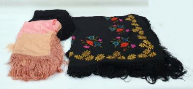 Four assorted embroidered shawls (1 box)