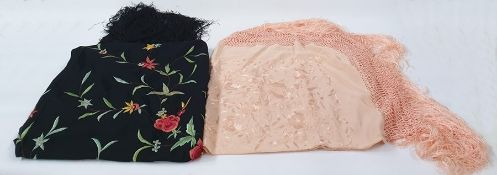 Large black silk embroidered piano shawl and a smaller peach embroidered shawl (2)  Condition