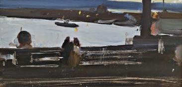 20th century school Oil on panel Twilight river scene, 22cm x 45.5cm Condition ReportPlease see