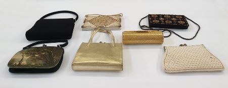 Gilt metal hard cased evening bag with diamante detail to the clasp, a beaded evening bag, a gold