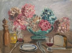W.G. Scott-Brown 'Bill' (1897-1987) Acrylic on canvas Still life study of hydrangeas in vase and