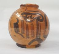 20th century continental vase of ovoid form, orange ground lustre finish and decorated in the manner