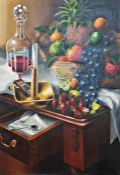 Ronald Smith (1930-1999) Oil on canvas  Still life study of various fruits, wine decanter and