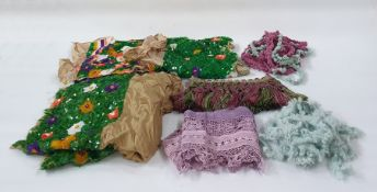 Large quantity of various trimmings including embroidered, beaded, a large piece of green sequin