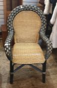 Cane and bamboo framed mid-20th century armchair