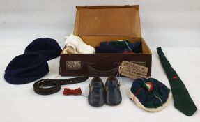 Assorted boy's wool blue caps, three balaclavas, knitted pompom hats, ties, one with Welsh dragon, a