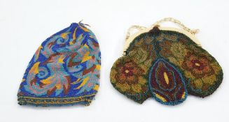 1920's/30's beaded evening bag with bakelite fixed frame and chain with a beaded miser's purse (2)