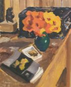 Paul Lucien Maze (1887-1979)  Acrylic on board Still life with nasturtiums, signed lower left, 41.